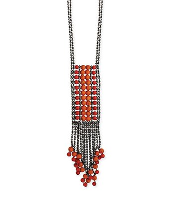 Red Gunmetal Beaded Fringe Pendant Necklace