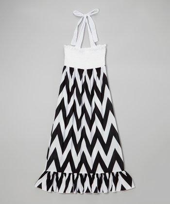 Lori & Jane Black & White Zigzag Maxi Dress