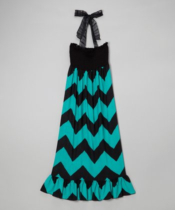 Lori & Jane Black & Turquoise Zigzag Maxi Dress
