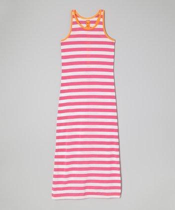 Derek Heart Pink & Orange Stripe Maxi Dress