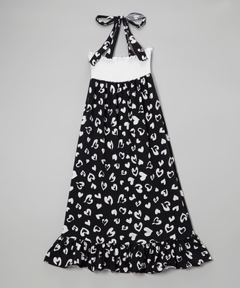 Lori & Jane Black & White Heart Maxi Dress