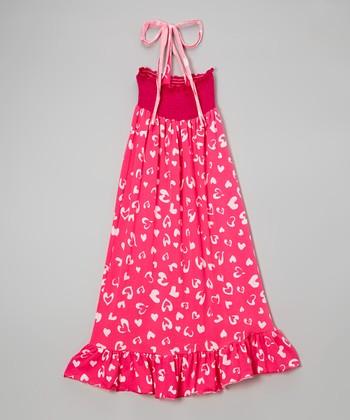 Lori & Jane Pink & White Heart Maxi Dress