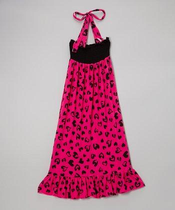 Lori & Jane Hot Pink & Black Heart Maxi Dress