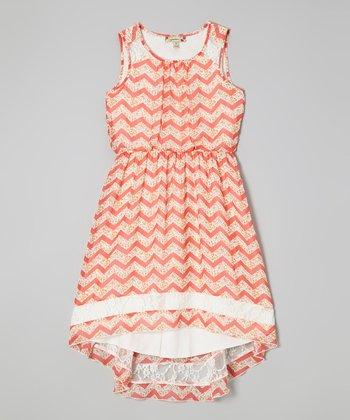 Speechless Coral Zigzag Hi-Low Dress