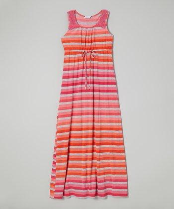 Speechless Fuchsia & Orange Stripe Crocheted Trim Maxi Dress