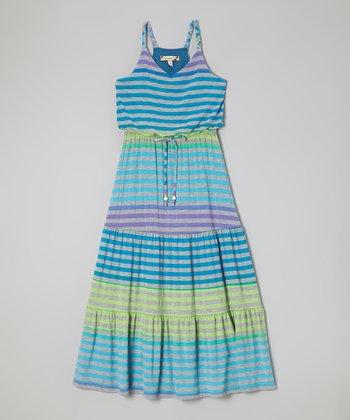 Speechless Purple & Turquoise Stripe Maxi Dress