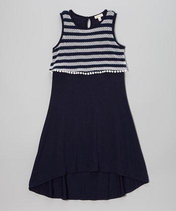 Monteau Girl Navy & White Stripe Hi-Low Dress
