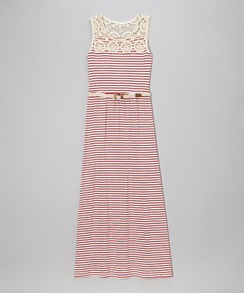 Monteau Girl Red & White Stripe Crocheted Belted Maxi Dress