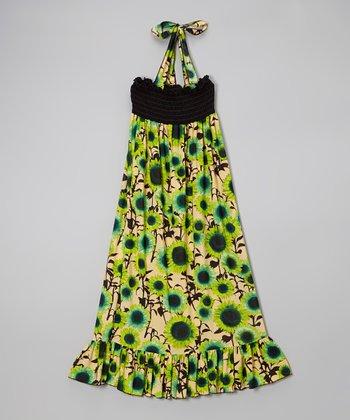 Lori & Jane Green Sunflower Halter Maxi Dress