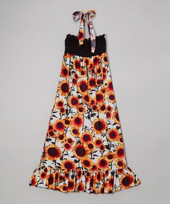 Lori & Jane Black & Orange Sunflower Halter Maxi Dress