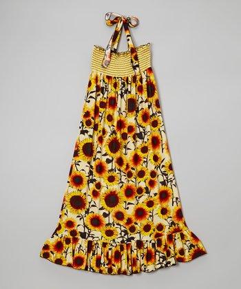 Lori & Jane Yellow Sunflower Halter Maxi Dress