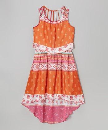 Speechless Orange & Pink Floral Tribal Hi-Low Dress