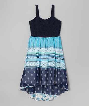 Speechless Navy & Turquoise Floral Tribal Hi-Low Dress