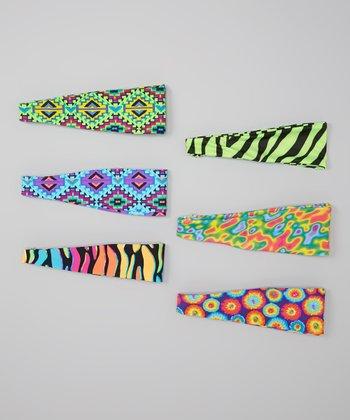Fit 2 Win Sportswear Turquoise, Green & Hot Pink Tribal Headband Set