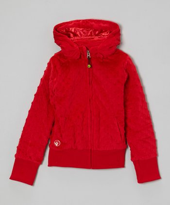 Red Minky Lined Zip-Up Hoodie - Girls