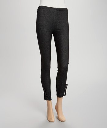 Black Tab Ankle-Length Jeggings - Women