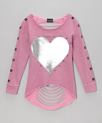 Pink Heart Long-Sleeve Slash-Back Tee