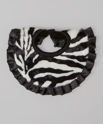 Black & White Zebra Faux Fur Bib
