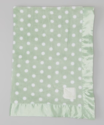 Green Polka Dot Plush Stroller Blanket