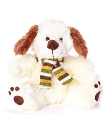 Cream Scarf Dog Plush Toy
