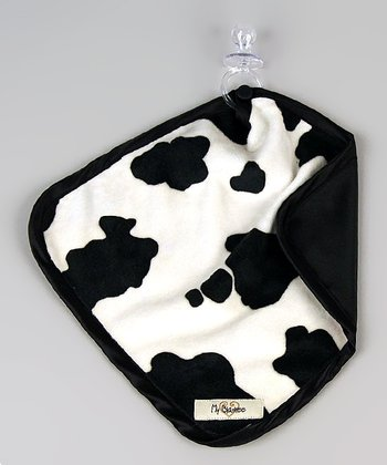 Black & White Cow Velour Satin Lovey