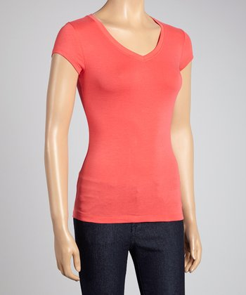 Red Fox Coral V-Neck Tee