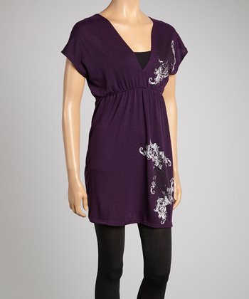 Purple Abstract V-Neck Tunic