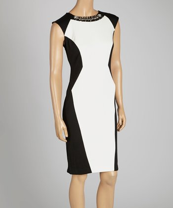 Black & Ivory Sleeveless Dress