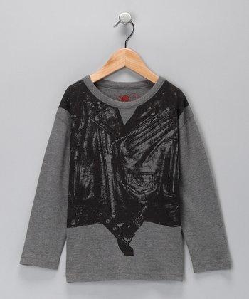 Heather Gray Moto Vest Organic Long-Sleeve Tee - Toddler & Boys