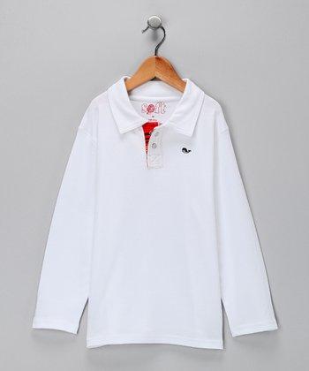 White Prep School Long-Sleeve Polo - Toddler & Boys