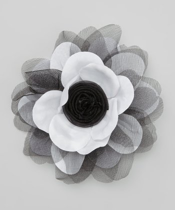 Black & White Organza Flower Hair Clip