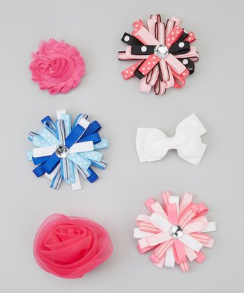 Pink Frayed Flower Clip Set