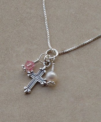 Tiny Treasures  Sterling Silver & Pink Cross Cluster Necklace