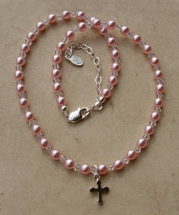 Tiny Treasures  Sterling Silver Pink Jenna Necklace
