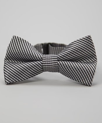 Black & Gray Stripe Bow Tie