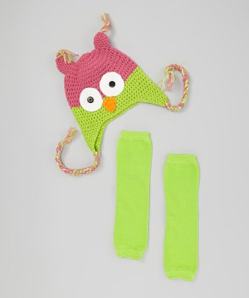 Hot Pink & Lime Owl Earflap Beanie & Leg Warmers - Infant