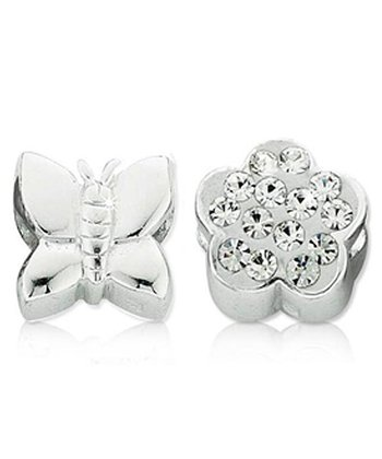Sterling Silver Butterfly & Flower Charm Set