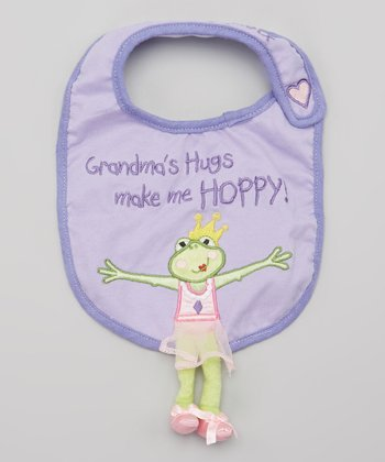 Purple 'Grandma's Hugs' Tippy Toad Bib