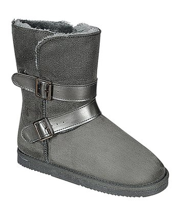 Gray Rose Buckle Boot