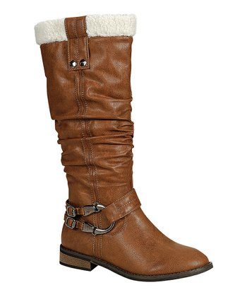 Brown Harwin Fuzzy Collar Boot