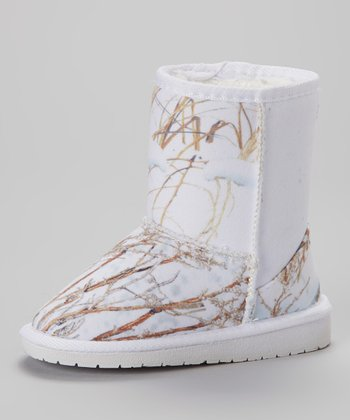White Winter Brush Short Boot