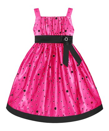 Hot Pink Polka Dot Dress - Toddler & Girls