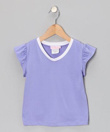 Purple V-Neck Tennis Top - Girls
