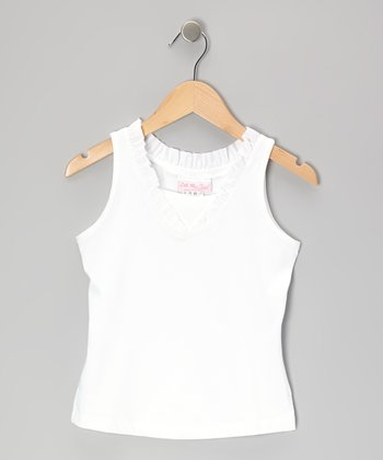 White Ruffle Tank - Toddler & Girls