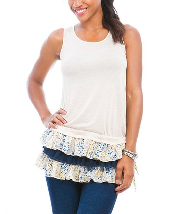 Cream & Blue Ruffle Hem Top - Women