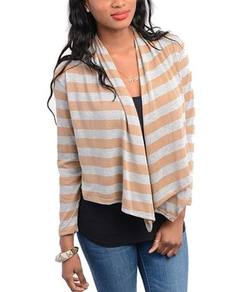 Tan & Gray Cropped Open Cardigan