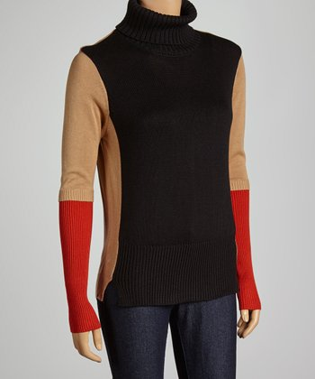 Tan & Red Color Block Turtleneck Sweater