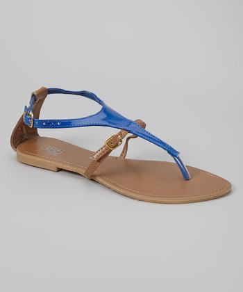 Royal Blue Patent T-Strap Sandal