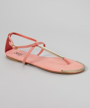 Coral & Gold Bar Sandal