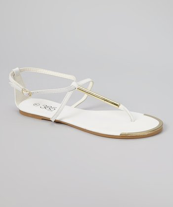 White & Gold Bar Sandal